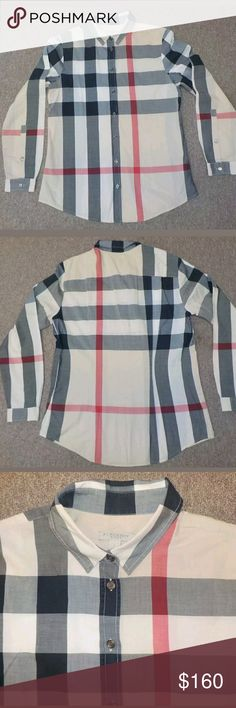 Burberry women's shirt size S Pre-owned, I only wore it once, it's too small for me, I paid $295  SIZE:Small   MATERIAL:100% Cotton. Machine Wash.  CONDITION:Excellent. No Known Flaws.                  WeGuaranteeevery product we sell  If you are not 100% satisfied with your product Burberry Tops Blouses