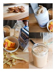 Clean peach smoothie    Ingredients        * 1 cup frozen peaches      * 2 cups whole fat coconut milk      * 2 tsp pumpkin pie spice (most health food stores have this in bulk, but you can also use a mix of cinnamon, nutmeg and allspice)      * 1 teaspoon freshly grated ginger      * optional: scoop of Nourish (or any elimination diet-friendly protein powder)