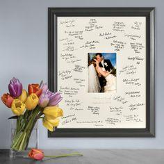 Svadobný obraz s podpismi hostí