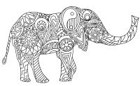 member's free hippy elephant digital stamp set outline