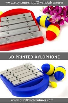 This handheld five note toy xylophone comes with an easy to store mallet. The bright red xylophone housing, yellow mallet, and bolts are all 3D printed using PLA, a plant based biodegradable plastic. #3dmodel #3dprinting #musicians #musiceducation #toys #childrenstoy #education #musiceducation