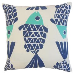 Add a stylish touch to your patio seating group or reading nook arm chair with this lovely pillow, featuring a stylized fish print for visual appeal.