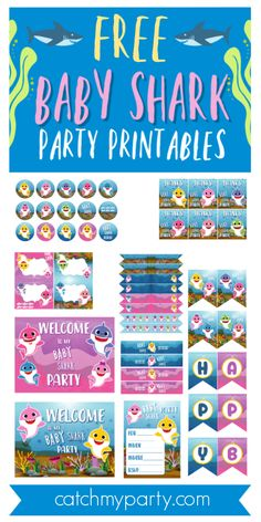 The second you set up eyes on this adorable set of FREE Baby Shark Party Printables you'll be singing 'Baby shark, doo doo doo, doo doo doo doo doo. 2nd Birthday Party Themes, Boy Birthday Parties, Birthday Kids, Shark Party Favors, Dinosaur Party, Baby Hai, Album Photo, Free Baby Stuff, Party Printables