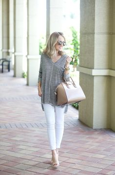 A Spoonful of Style: Oversized Stripes... Post Baby Style  #fourthtrimester #postpartumstyle