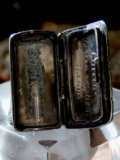 Extremely Rare Antique Georgian Coffin Ring - Mourning Mori Memento Type 'Crystal Skeleton and Engraved' Archangel Michael Circa: 1720 (JP)