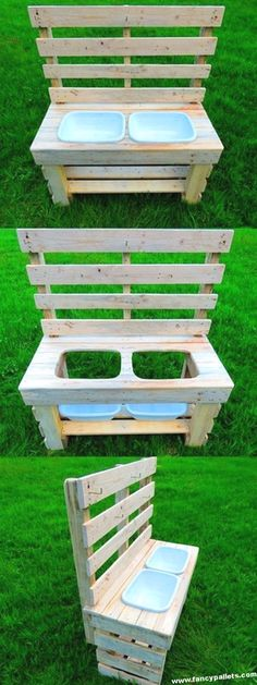 Amazing Mud Kitchen Made By Pallet, . - Amazing Mud Kitchen Made By Pallet, # amazing - Diy Mud Kitchen, Mud Kitchen For Kids, Kitchen Tile, Outdoor Play Kitchen, Funny Kitchen, Kitchen Decor, Pallet Kids, Diy Pallet Projects, Wood Projects