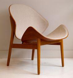 "Sedia ""Model 55"" 1955 (78x59x58 Legno di Teak e quercia e lana) Hans Olsen (Danimarca 1902 - 1983)"