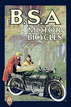 B.S.A. Motor Bicycles Vintage BSA Motorcycle by FoxgloveMedia