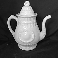 WHITE IRONSTONE TEAPOT, LAUREL WREATH