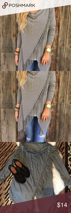 Gray lightweight trendy wrap cardigan Tshirt type material. Cute but fits like a medium. I don't want to pay to return so hopefully someone will like. New! Tops