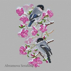 "Cross stitch design ""Bullfinches on Wild Rosemary with Snow"" Designer – Abramova Serafima The size of the embroidery: crosses (for canvas aida 14 is Learn Embroidery, Hand Embroidery Stitches, Crewel Embroidery, Embroidery Techniques, Ribbon Embroidery, Cross Stitch Embroidery, Embroidery Patterns, Cross Stitch Patterns, Knitting Stitches"