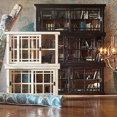 Spencer 71  Bookcase with Glass Doors In Spencer Black & Antique White Bookcase With Glass Doors u2026 | reading space ... pezcame.com