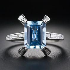 Contemporary. Platinum, Aquamarine and Diamond Ring, c1960s.