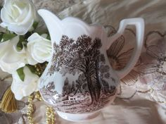 J&G Meakin Romantic England Ironstone - Creamer / Pitcher Brown by AntiquesandCoinsJL on Etsy Antique Coins, Make Your Own, England, Romantic, Antiques, Brown, Tea Time, Dinnerware, Etsy