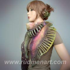 irene rudman on etsy (rudmanart) has the most beautiful nuno felted scarves!