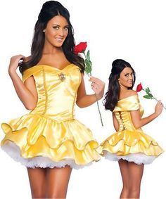 Disney's Belle Costume from the Beauty and the Beast Yellow Mini Dress Petticoat Red Rose Disney Princess