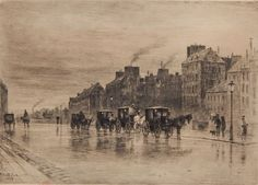 Felix Buhot (French 1847-1898)- ''Matinee d'Hiver au Quai de l'Hotel Dieu'' (Bourcard and Goodfriend 123 x/XV)- etching and drypoint, 1876, signed with artist's red owl stamp (Lugt 977), very slightly light struck. 9 5/16 x 12 5/8''