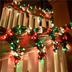 Chrismas lights/ Holiday/ Decor/ Red, Green & Clear Garland Christmas LIghts - 18' - oogalights.com