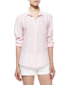 Barry Long-Sleeve Blouse, Pink by Frank & Eileen at Neiman Marcus.