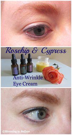 DIY anti-wrinkle cream.  Rosehip Seed, Mango Butter, Vitamin E Oil, Cypress, Geranium, Lavender, Helichrysum, Frankincense.