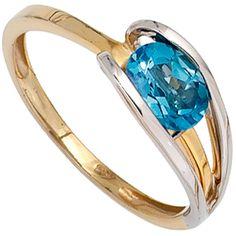 Damen Ring 585 Gold Gelbgold Weißgold kombiniert 1 Blautopas Goldring A51282 58