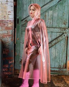 Raincoats For Women WomenS Jackets Pink Raincoat, Raincoat Jacket, Plastic Raincoat, Plastic Pants, Rain Jacket, Capes, Rain Fashion, Raincoats For Women, Outfits