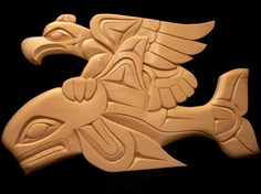 eagle and whale, Wood Carving by Doug LaFortune
