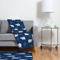 Kangarui Happy Hippo Blue Fleece Throw Blanket | DENY Designs Home Accessories #blanket #hippo #navy #homeware