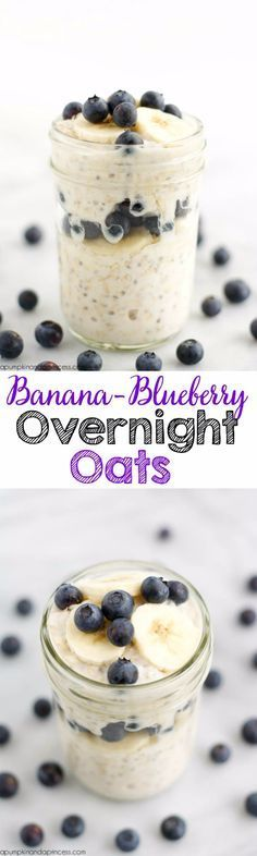 Banana Blueberry Overnight Oats – simplify your breakfast with this easy overnight oatmeal recipe in a jar, from A Pumpkin & A Princess. Blueberry Overnight Oats, Overnight Oatmeal, Banana Oats, Oatmeal Recipes, Healthy Snacks, Healthy Recipes, Carrot Recipes, Salad Recipes, Icing Recipes