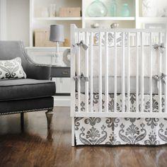 Gray Baby Bedding, GrayCrib Bedding, Baby Bedding Gray, Gray and White Nursery Bedding
