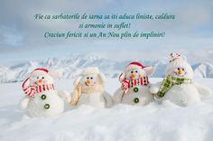 Felicitare de iarna cu oameni de zapada