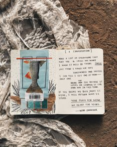 [a conversation] art journal + poetry by Noor Unnahar || journaling ideas inspiration diy craft collage scrapbook scrapbooking notebook diary spread, tumblr indie pale grunge hipsters aesthetic beige handwritten, instagram creative photography artists women writers of color poetic artsy, words quotes ||