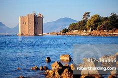 The medieval donjon of the Saint Honorat island near Cannes, Alpes-Maritimes, French riviera, Provence-Alpes-Cote d´Azur, France