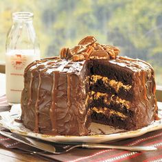 Chocolate Turtle Cake | Chocolate, caramel, and pecans are made to be together, and their flavors harmonize perfectly in this stunning chocolate layer cake. Devil's food cake mix with pudding plus chocolate morsels result in brownie-like layers filled and frosted with a jazzed up ready-to-spread fudge frosting. The finishing touches are turtle candies and a drizzling of dulce de leche ice cream topping.