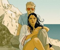 "More Phil Noto greatness; ""Matt Murdock and Elektra Natchios, Malta, 1983."""