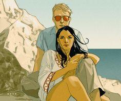 "More Phil Noto greatness; ""Matt Murdock and Elektra Natchios, Malta, 1983."""