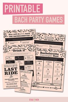 It's not a bachelorette weekend without a few fun games to get the party started! We created four classic and fun western-themed bachelorette party activities the entire bride squad will love. Choose from a Bachelorette Party Scavenger Hunt, Drink If Drinking Game, Groom Quiz, Bridal Trivia or purchase the bundle and get one game free! Pair with matching bachelorette party invitations, cups, coozies and shirts from our Bride's Last Ride Bachelorette Party Collection to complete the theme. Bachelorette Drinking Games, Bachelorette Party Scavenger Hunt, Bachelorette Party Activities, Bachelorette Party Invitations, Bachelorette Weekend, Western Party Games, Free Printable Invitations, Get The Party Started, Fun Games