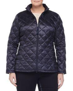 Pagoda Quilted Short Puffer Jacket, Women's, Size: 14W, Navy - Marina Rinaldi