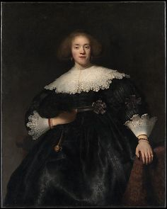 Rembrandt Harmenszoon van Rijn (Dutch, - Portrait of a Young Woman with a Fan, The Metropolitan Museum of Art Rembrandt Portrait, Rembrandt Paintings, Rembrandt Art, Leiden, Taft Museum, Mode Renaissance, 17th Century Fashion, Baroque Art, Dutch Golden Age