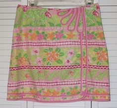 Lilly Pulitzer Ladies Skirt Size 4 Pink White Green Flowers Mock Wrap #LillyPulitzer #ALine