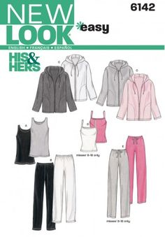 New Look Ladies Easy Sewing Pattern 6142 Tracksuit Tops, Pants & Jackets | Sewing | Patterns | Minerva Crafts
