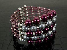 Wide Purple & Gray Pearl Memory Wire Bracelet