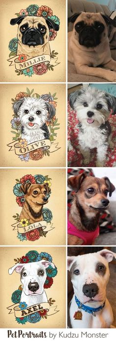 Custom dog and cat pet portraits by Kudzu Monster Illustrated in a unique tattoo floral style from photos you provide. I take color scheme preferences and some special requests. Check out my website for prices and contact me with any questions! KudzuMonst