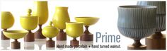 Love this pottery in mustard .... all of the shapes are great and a walnut wooden base.... What a combo