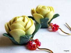 Boucles d'oreilles fleurs roses jaune polymère accessoires dorés : Boucles…