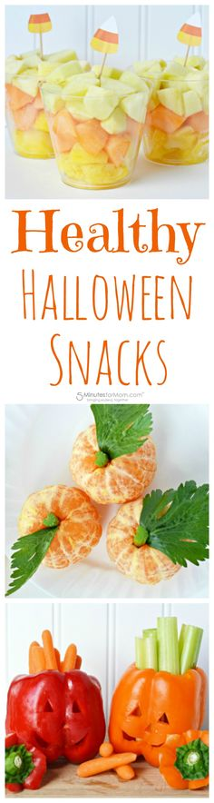 Healthy Halloween Snacks with Fruits and Vegetables - Candy Corn Fruit Cups, Jack-O-Lantern Pepper Bowls with Fresh Veggies, and Mandarin Orange Pumpkins. #Halloween #HealthySnacks