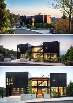 This home, located on a steep lot in Portland, Oregon, with views towards Mt. St. Helens and Mt. Rainier, has been designed for a family that loves music.