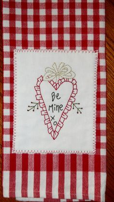 Hand Embroidered Tea Towel - Be Mine Heart