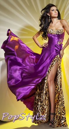 Tony Bowls Gold/Purple Leopard Dress Would make a cute belly dance costume with a little adjustment.