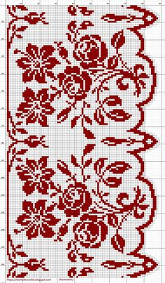 Cross Stitch Borders, Cross Stitch Rose, Cross Stitch Samplers, Cross Stitch Animals, Cross Stitch Charts, Cross Stitch Designs, Crochet Tablecloth Pattern, Crochet Edging Patterns, Filet Crochet Charts